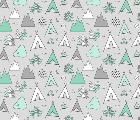Adventure - Light Gray & Mint fabric by sweeterthanhoney on Spoonflower - custom fabric