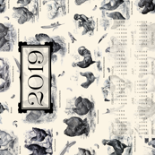 Poultry Envy Tea Towel 2019 Cream Black Toile