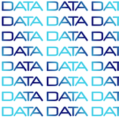 DATA, bright-dark-bright blue gradient text on white, by Su_G