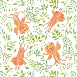 Orange flowers and green leaves watercolor pattern