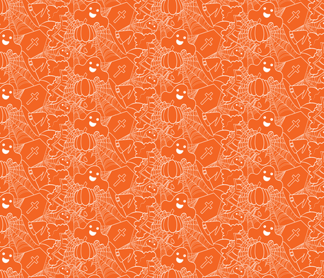 Cute Halloween - Orange and White fabric by juliematthews on Spoonflower - custom fabric