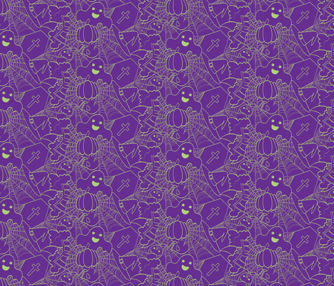 Cute Halloween - Purple and Green fabric by juliematthews on Spoonflower - custom fabric