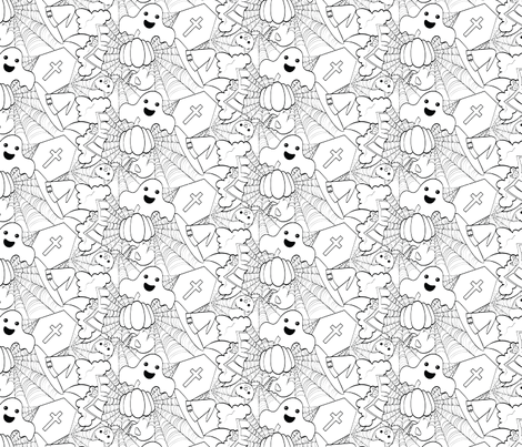 Cute Halloween - White and Black fabric by juliematthews on Spoonflower - custom fabric