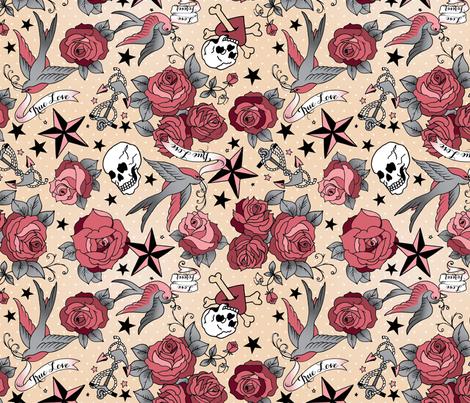 Girly tattoo fabric by cynthiafrenette on Spoonflower - custom fabric