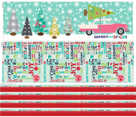 Merry and Bright Table Runner Panel fabric by cynthiafrenette on Spoonflower - custom fabric