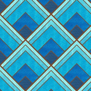 Flowing Blue and Brown Ombré Art Deco Pattern