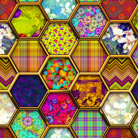 METALLIC MIX HEXIES 3D GOLD  fabric by paysmage on Spoonflower - custom fabric