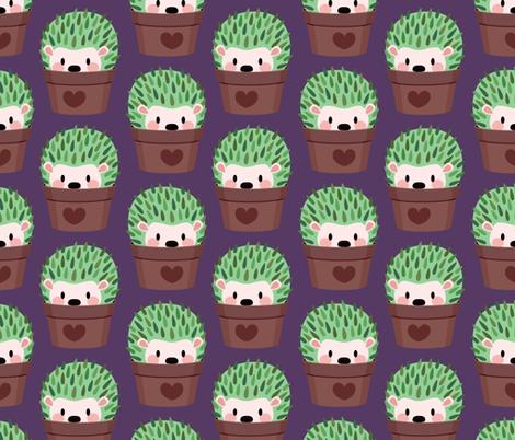 Large Cactus-Hedgehog (dark purple) fabric by petitspixels on Spoonflower - custom fabric