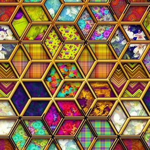 METALLIC DOUBLE MIX 3D HEXIES GOLD
