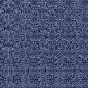 Doodled Lace with dark blue background