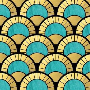 Duck Egg  and Gold Art Deco Fan Pattern