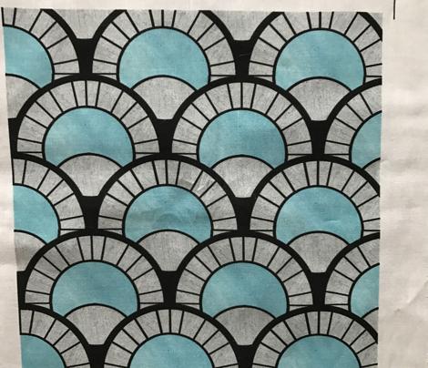 Baby Blue and Silver Art Deco Fan Pattern