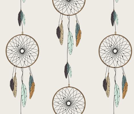 (jumbo scale) dreamcatcher // mint & teal fabric by littlearrowdesign on Spoonflower - custom fabric