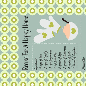 Recipe for a Happy Home Tea Towel