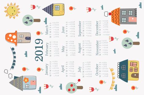 Home Sweet Home 2019 Calendar fabric by kathrinlegg on Spoonflower - custom fabric