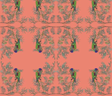 2941 Rainbow Lorikeet#1 -Orange  fabric by jennieholtsbaumdesign on Spoonflower - custom fabric