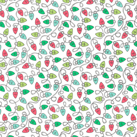 Christmas Xmas Lights Bulbs Red Green on White Tiny Small fabric by caja_design on Spoonflower - custom fabric
