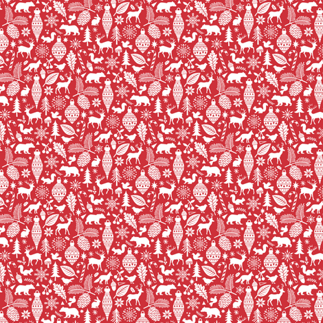 Woodland Forest Christmas Doodle with Deer,Bear,Snowflakes,Trees, Pinecone in Red tiny small fabric by caja_design on Spoonflower - custom fabric