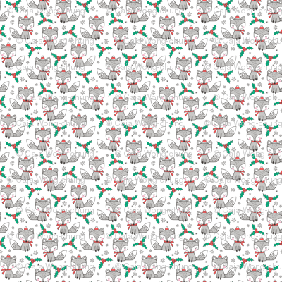 Winter Christmas Xmas Holidays Fox With snowflakes , hats  beanies,scarf  on White Tiny Small