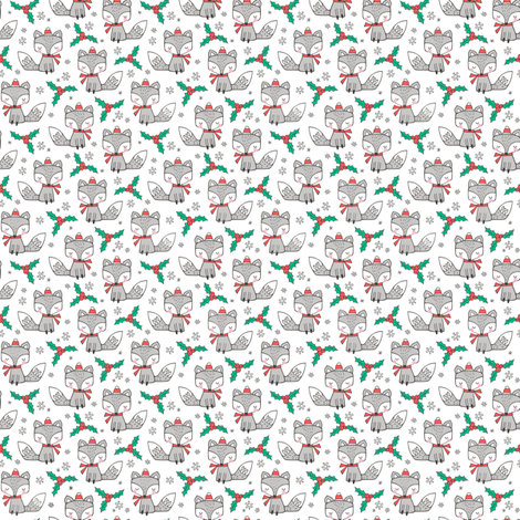 Winter Christmas Xmas Holidays Fox With snowflakes , hats  beanies,scarf  on White Tiny Small fabric by caja_design on Spoonflower - custom fabric