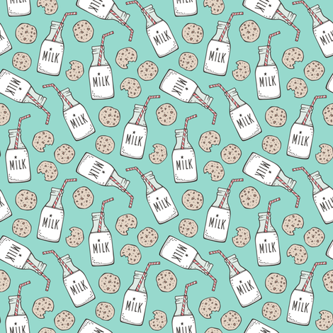 Milk and Cookies on Mint Green Smaller tiny fabric by caja_design on Spoonflower - custom fabric