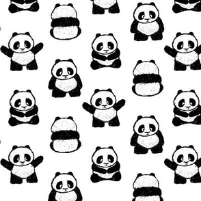 pandas on white (small scale) || pandamonium