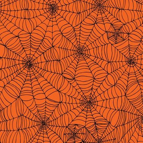 Spiderwebs - black on orange