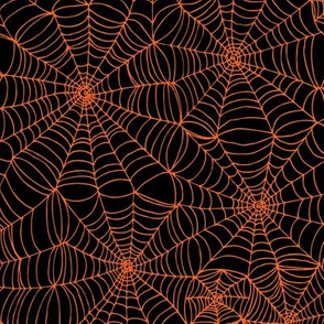 Spiderwebs - orange on black