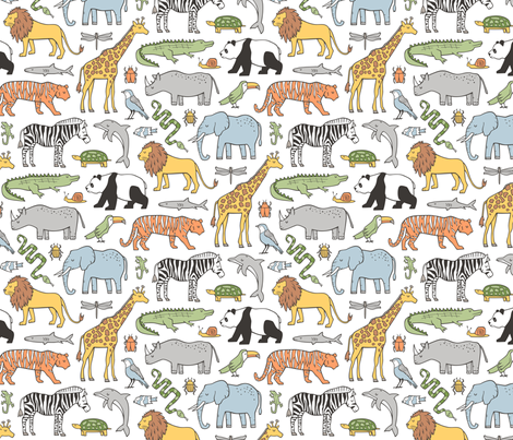 Zoo Jungle Animals Doodle with Panda, Giraffe, Lion, Tiger, Elephant, Zebra,  Birds fabric by caja_design on Spoonflower - custom fabric