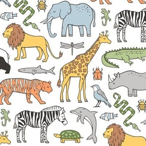 Zoo Jungle Animals Doodle with Panda, Giraffe, Lion, Tiger, Elephant, Zebra,  Birds