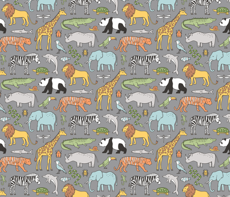 Zoo Jungle Animals Doodle with Panda, Giraffe, Lion, Tiger, Elephant, Zebra,  Birds on Dark Grey fabric by caja_design on Spoonflower - custom fabric