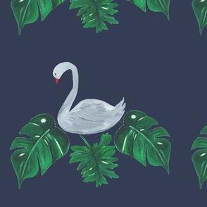 Swan on Leaves