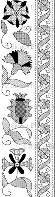 Detailed Elizabethan Blackwork Floral Bands