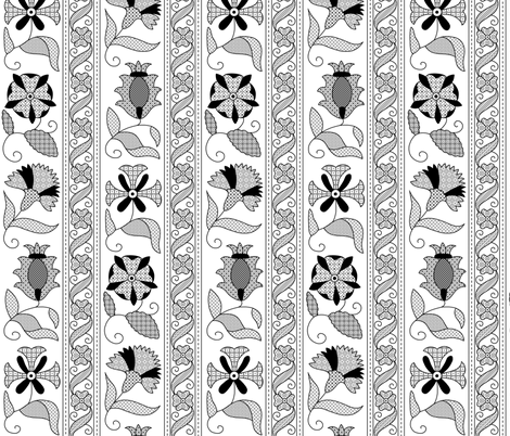 Detailed Elizabethan Blackwork Floral Bands fabric by sidney_eileen on Spoonflower - custom fabric