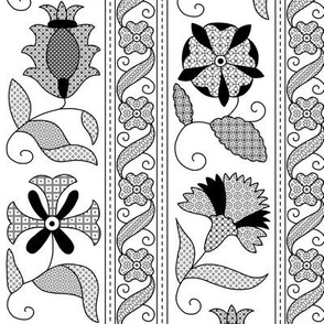 Detailed Elizabethan Blackwork Floral Bands