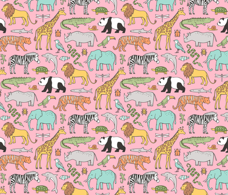 Zoo Jungle Animals Doodle with Panda, Giraffe, Lion, Tiger, Elephant, Zebra,  Birds on Pink fabric by caja_design on Spoonflower - custom fabric