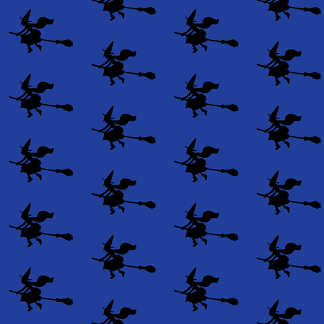 Witch Silhouettes – Black on Blue fabric by cecca on Spoonflower - custom fabric