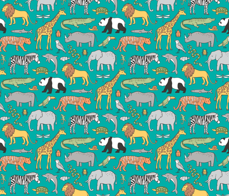 Zoo Jungle Animals Doodle with Panda, Giraffe, Lion, Tiger, Elephant, Zebra,  Birds on Green fabric by caja_design on Spoonflower - custom fabric
