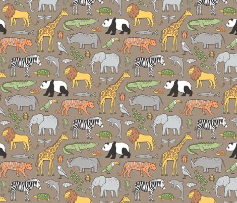 Zoo Jungle Animals Doodle with Panda, Giraffe, Lion, Tiger, Elephant, Zebra,  Birds on Brown fabric by caja_design on Spoonflower - custom fabric