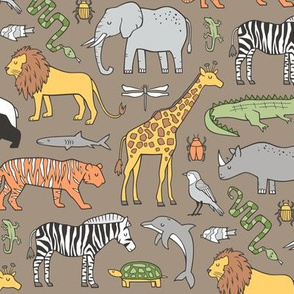 Zoo Jungle Animals Doodle with Panda, Giraffe, Lion, Tiger, Elephant, Zebra,  Birds on Brown