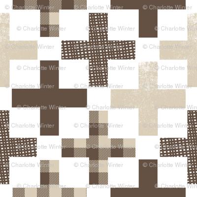 crosses swiss cross plus brown and tan cross fabric kids cute baby nursery