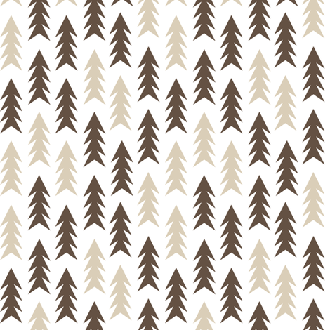 trees evergreen fir tree forest brown and tan outdoors fabric camping design  fabric by charlottewinter on Spoonflower - custom fabric