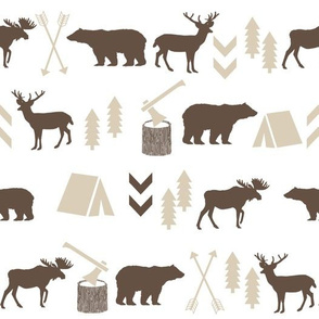 brown and tan kids nursery baby outdoors fabric woodland  camping outdoors bear moose