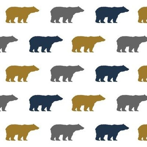 bears gold navy grey bear nursery boy kids fabric