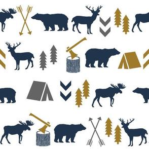 camping bear nursery gold navy grey charcoal kids boys nursery fabrics