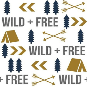 wild and free camping outdoors kids fabric gold navy blue