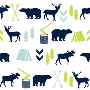 navy mint and lime green baby boy nursery cute outdoors camping lumberjack hunting animals arrows