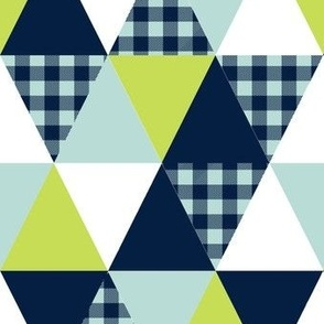 cheater quilt triangles crib sheet blanket baby blanket plaid checks navy mint and lime nursery baby