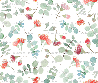 Watercolor eucalyptus silver scatter