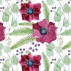 Burgundy Anemones Pattern